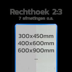Basisbord omgezette rand - type 2:3 - rechthoek reflecterend blank, blanco, onbeplakt verkeersbord, onafgewerkt bord, halffabrikaat, zelf beletteren, reclamebord, bordmodel