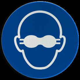 Product Ondoorschijnende oogbescherming verplicht Pictogram M007 - Ondoorschijnende oogbescherming verplicht M007 NEN7010, veiligheidspictogram, bril, bescherming, gezicht, ogen, oog, veiligheidsbril, ondoorzichtig