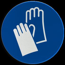 Product M009 - Veiligheidshandschoenen verplicht Pictogram M009 - Veiligheidshandschoenen verplicht NEN7010, veiligheidspictogram, hand, schoenen, handschoenen, verplicht, bescherming