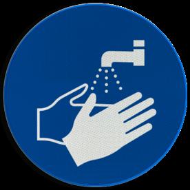 Product Handen wassen verplicht Pictogram M011 - Handen wassen verplicht M011 NEN7010, veiligheidspictogram, handen wassen, verplicht, water