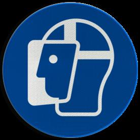 Product M013 - Gelaatsbescherming verplicht Pictogram M013 - Gelaatsbescherming verplicht NEN7010, veiligheidspictogram, gezicht, bescherming, gezichtsbescherming, hoofd
