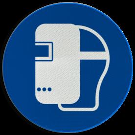 Product Lasmasker verplicht Pictogram M019 - Lasmasker verplicht M019 NEN7010, veiligheidspictogram, Laskap, verplicht, masker, kap, las, lassen, bescherming