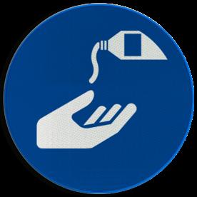 Product M022 - Beschermende handcrème verplicht Pictogram M022 - Beschermende handcrème verplicht NEN7010, veiligheidspictogram, handen, reinigen, verplicht, Crème, Creme