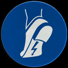 Product Antistatische veiligheidsschoenen verplicht Pictogram M032 - Antistatische veiligheidsschoenen verplicht M032 NEN7010, veiligheidspictogram, Anti statisch, statisch elektriciteit,