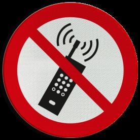Product P013 - Mobiele telefoon verboden Pictogram P013 - Mobiele telefoon verboden Smartphone, GSM, Telefoon, verboden, mobiel, pictogram, symbool, teken, NEN, 7010,  reflecterend, sticker, klasse 1, klasse 3, vlak, bordje, paneel, kunststof, aluminium, veiligheid, verbod,