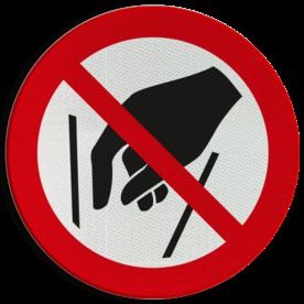 Product Verboden in te grijpen Pictogram P015 - Verboden in te grijpen P015 Hand, Handen, Ingrijpen, Grijp, verboden, pictogram, symbool, teken, NEN, 7010,  reflecterend, sticker, klasse 1, klasse 3, vlak, bordje, paneel, kunststof, aluminium, veiligheid, verbod,