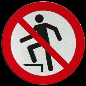 Product Verboden op te stappen Pictogram P019 - Verboden op te stappen P019 Klimmen, staan, springen, opstappen, betreden, verboden, pictogram, symbool, teken, NEN, 7010,  reflecterend, sticker, klasse 1, klasse 3, vlak, bordje, paneel, kunststof, aluminium, veiligheid, verbod,