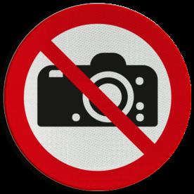 Product P029 - Verboden te fotograferen Pictogram P029 - Verboden te fotograferen foto's maken, fotograferen, verboden, p29, camera, pictogram, symbool, teken, NEN, 7010,  reflecterend, sticker, klasse 1, klasse 3, vlak, bordje, paneel, kunststof, aluminium, veiligheid, verbod,