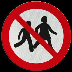 Product P036 - Verboden voor kinderen Pictogram P036 - Verboden voor kinderen Toegang, voetgangers, voetganger, Ouders, kids, minderjarigen, pictogram, symbool, teken, NEN, 7010, reflecterend, sticker, klasse 1, klasse 3, vlak, bordje, paneel, kunststof, aluminium