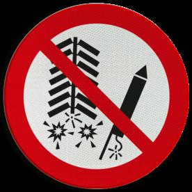 Product Ontsteken van vuurwerk verboden Pictogram P040 - Ontsteken van vuurwerk verboden P040 Vuurwerk, vuurpijlen, lont, afsteken, ontsteek, rotjes, vuurwerkverbod, pictogram, symbool, teken, NEN, 7010, reflecterend, sticker, klasse 1, klasse 3, vlak, bordje, paneel, kunststof, aluminium