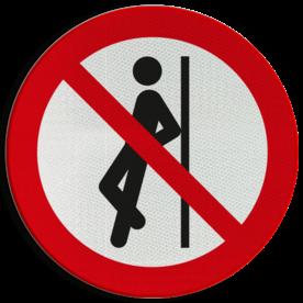 Product Tegenaan leunen verboden Pictogram P041 - Tegenaan leunen verboden P041 Leunen, hangen, duwen, persoon, pictogram, symbool, teken, NEN, 7010, reflecterend, sticker, klasse 1, klasse 3, vlak, bordje, paneel, kunststof, aluminium
