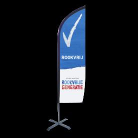 Beachflag 80x245cm - Rookvrije Generatie met voetstuk vlag