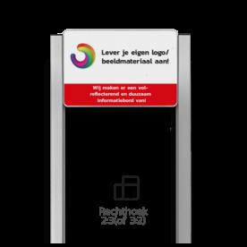 Portaalsysteem TS6 inclusief informatiebord rechthoek 3:2 + 2 Geborsteld aluminium staanders 60x60mm