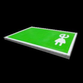 Markering - wegenverf -  Oplaadpunt E-stekker - volvlak wegmarkering, grondmarkering, vloermarkering, vloer, markering, weg, grond, opladen, oplaad, elektrisch, parkeren, wegenverf, thermoplast, groen, blauw, parkeervak, belijning, symbool, pictogram, markeer, terrein, vloer, parkeergarage, garage
