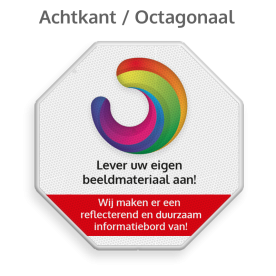 Informatiebord octogonaal reflecterend + uw eigen opdruk