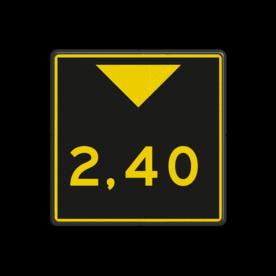 Scheepvaartbord Aanduiding hoogte. Bij sommige vaarwegen wordt de beschikbare doorvaarthoogte aangegeven op een hoogtebord, dat is aangebracht aan de overspanning. Scheepvaartbord BPR G. 5.2 - Aanduiding hoogte geel/zwart G. 5.2 water, brug, hoogte, waterweg, waterwegen, scheepvaarttekens, verkeerstekens,