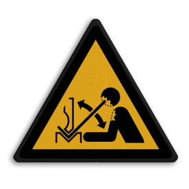 Product Waarschuwing voor zetbank Veiligheidspictogram - Zetbank opletten - W032 Zetbank, bank, handen, Beweging, hoofd