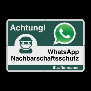 WhatsApp - Deutsch - Achtung Nachbarschaftsschutz Verkehrsschild
