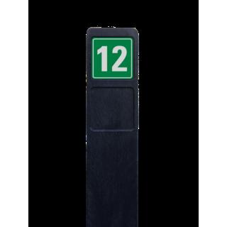 Huisnummerpaal zwart recycling + 1x huisnummer groen/wit