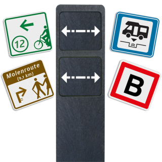Routebordpaal zwart recycling 1250x150x40 (hxbxd)