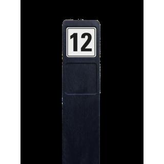 Huisnummerpaal zwart recycling + 1x huisnummer wit/zwart - reflecterend klasse 3