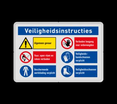 Veiligheidsbord met instructies | 1 regels / 6 symbolen
