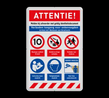 Veiligheidsbord met instructies | 5 regels / 6 symbolen