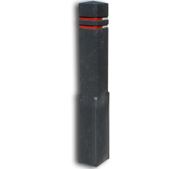 Bermpaal Recycling diamantkop 15x15x140cm + reflecterende stroken