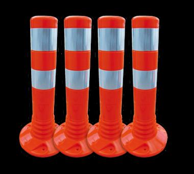Aanrijdbeveiliging oranje/wit - kunststof flexpalen Ø80mm
