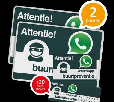 WhatsApp Buurtpreventie SET - 2 borden + 20 stickers - L209wa