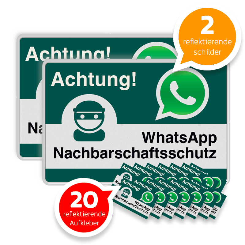 Whatsapp Achtung Nachbarschaftsschutz 2x Verkehrsschild 20 Aufkleber