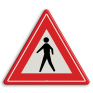 Verkeersbord J23 - Vooraanduiding voetgangers-oversteekplaats