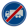 Verkeersbord F22 - Einde rijbaan of -strook vrachtauto's