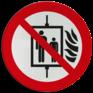 Veiligheidsbord P020 - Bij brand lift niet gebruiken