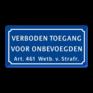 Verkeersbord BT01 - Verboden Toegang voor onbevoegden