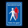 Verkeersbord L54b - Wandelstraat, fietsers te gast