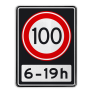 Verkeersbord A01100OB201ps - Maximum snelheid 100 km/h