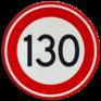 Verkeersbord A01-130 - Maximum snelheid 130 km/h