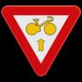 Verkeersbord B23 - Fietsers mogen rechtdoor rijden en de verkeerslichten voorbijrijden