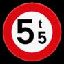 Verkeersbord C21 - Verboden toegang voor bestuurders van voertuigen waarvan de massa in beladen toestand hoger is dan de aangeduide massa.
