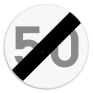 Verkeersbord C45 - Einde van de snelheidsbeperking opgelegd door het verkeersbord C43.