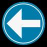 Verkeersbord D1b links - Verplichting links afslaan.