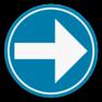 Verkeersbord D1b rechts - Verplichting rechts afslaan.