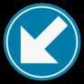 Verkeersbord D1c - Verplichting links aanhouden.