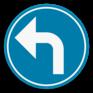 Verkeersbord D1e - Verplicht de aangeduide richting te volgen (linksaf)