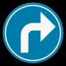 Verkeersbord D1f - Verplicht de aangeduide richting te volgen (rechtsaf)
