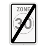 Verkeersbord F4b - Einde zone 30 km/u.