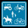 Verkeersbord F99c - Voorbehouden voor het verkeer van landbouwvoertuigen, voetgangers, fietsers, ruiters en bestuurders van speed pedelecs.