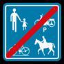 Verkeersbord F101a - Einde voorbehouden voor het verkeer van voetgangers, fietsers, ruiters en bestuurders van speed pedelecs.