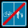 Verkeersbord F101b - Einde voorbehouden voor het verkeer van landbouwvoertuigen, voetgangers, fietsers, ruiters en bestuurders van speed pedelecs met aanduiding van het deel van de weg dat bestemd is voor de verschillende categorieën van weggebruikers.